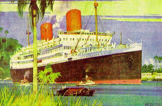 O 'Asturias' no Estuário de Santos, em pintura do inglês Kenneth Denton Shoesmith (1890-1939)