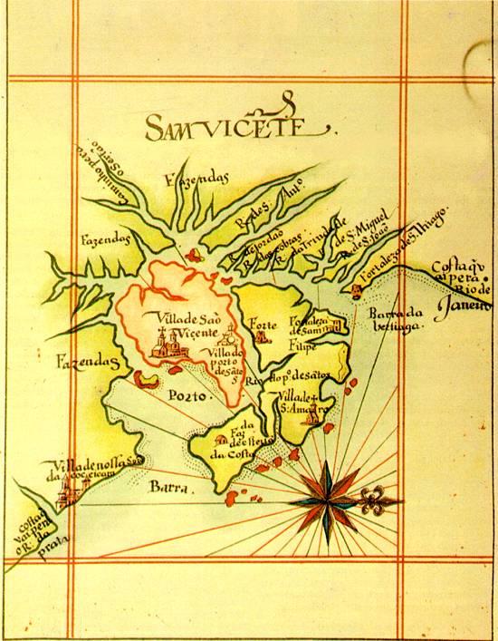 Reprodução de mapa do fim do século XVI, citando a Vila do Porto de Santos